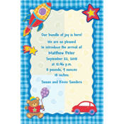 Hugs and Stitches Boy Custom Birth Announcements