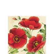 Red Poppies Beverage Napkins 16ct