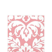 Pink Damask Beverage Napkins 16ct