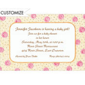 Pink Baby Buttons Custom Invitation