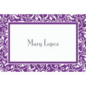 New Purple Ornamental Scroll Custom Thank You Note