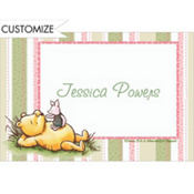Pooh Pink and Green Stripe Custom Baby Shower Thank You Note