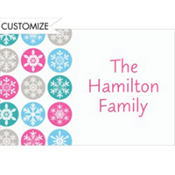 Mod Snowflakes Pink Custom Thank You Note