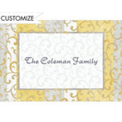 Gold Scroll on Stripe Custom Thank You Note