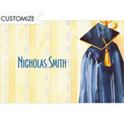 Blue Graduation Gown Custom Thank You Notes