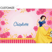 Snow White on Flower Pattern Custom Thank You Note