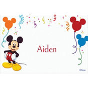 Mickey and Party Balloons Custom Thank You Note