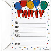 Balloon Party Folded Invitations 8ct