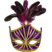 Purple Venetian Feather Mardi Gras Mask