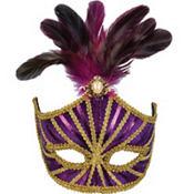 Purple Venetian Feather Mardi Gras Mask