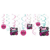 Rocker Girl Swirl Decorations 12ct