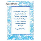 Swimming Pool Border Custom Invitation