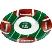 Round Football Chip & Dip Tray 13in