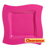 Bright Pink Premium Plastic Wavy Dinner Plates 10ct