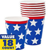 Red, White & Blue Patriotic Cups 18ct