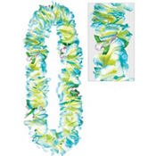 Blue Soft Petal Lei 40in