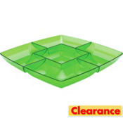 Green Square Chip and Dip Tray 12in
