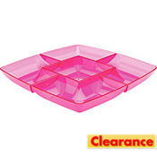 Pink Square Chip and Dip Tray 12in