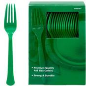 Festive Green Premium Plastic Forks 100ct