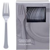 Silver Premium Plastic Forks 100ct
