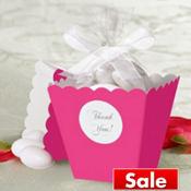 Bright Pink Popcorn Box Wedding Favor Kit 50ct