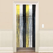 Black, Gold & Silver Foil Door Curtain 8ft