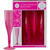 Bright Pink Premium Plastic Champagne Flutes 18ct