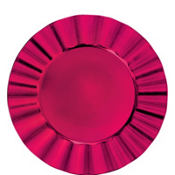 Raspberry Petal Round Plastic Charger 13in