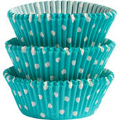 Robin's Egg Blue Polka Dots Baking Cups 75ct