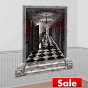 Gothic Mansion Long Hallway Scene Setters 65in 2pc