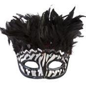 Zebra Stripe Feather Mask