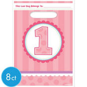 Girl 1st Birthday Favor Bags 8ct