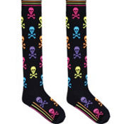 Neon Skull Knee High Socks