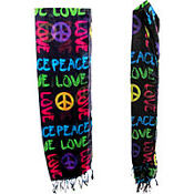Neon Peace And Love Scarf