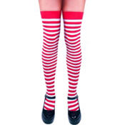 Adult Red and White Striped Thigh High Tights