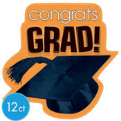 Orange Congrats Grad Graduation Cutouts 10 1/2in 12ct