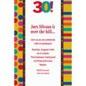 Birthday Dots & Stripes 30 Custom Invitation