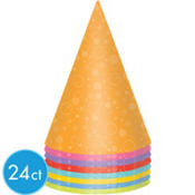 Bright Colors Party Hats 8ct