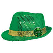 St. Patricks Day Sequin Fedora 8in
