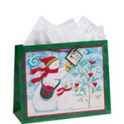Large Winter Snowmen Gift Bag 12in