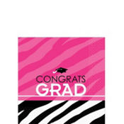 Zebra Party Graduation Beverage Napkins 16ct