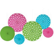 Polka Dot Hanging Fan Assortment 6ct