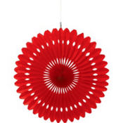 Apple Red Paper Fan Decoration 16in