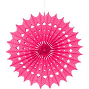 Bright Pink Paper Fan Decoration 16in