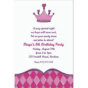 Birthday Princess Crown Custom Invitation
