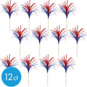 Foil Red and Blue Cupcake Picks 12ct