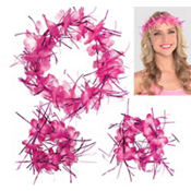 Pink Tinsel Head & Wrist Lei Set 3pc