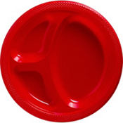 Red Plastic Divided Dinner Plates 20ct