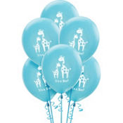 Latex Blue Safari Baby Shower Balloons 15ct