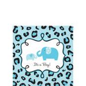 Blue Safari Baby Shower Beverage Napkins 36ct
